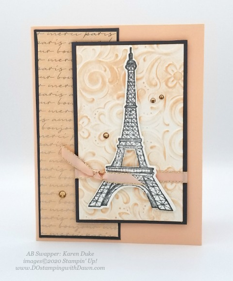Stampin' Up! Parisian Blossoms Suite swap cards shared by Dawn Olchefske #dostamping #howdshedothat #stampinup #handmade #cardmaking #stamping #papercrafting (Karen Duke)