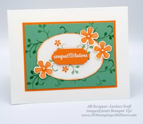 Stampin' Up! Thoughtful Blooms swap card shared by Dawn Olchefske #dostamping #stampinup #handmade #cardmaking #stamping #papercrafting (LeeAnn Greff)