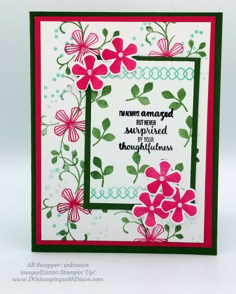 Stampin' Up! Thoughtful Blooms swap card shared by Dawn Olchefske #dostamping #stampinup #handmade #cardmaking #stamping #papercrafting