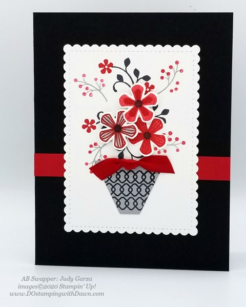 Stampin' Up! Thoughtful Blooms swap card shared by Dawn Olchefske #dostamping #stampinup #handmade #cardmaking #stamping #papercrafting (Judy Garza)