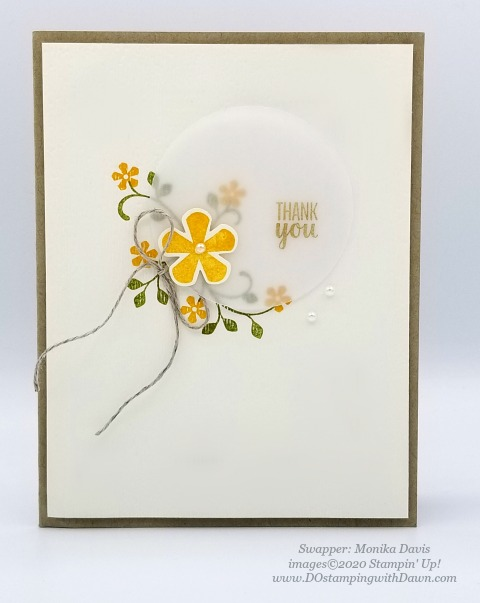 Stampin' Up! Thoughtful Blooms swap card shared by Dawn Olchefske #dostamping #stampinup #handmade #cardmaking #stamping #papercrafting (Monika Davis)