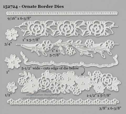 Stampin' Up! Ornate Borders Dies sizes shared by Dawn Olchefske #dostamping #stampinup #papercrafting #diecutting #stampindies