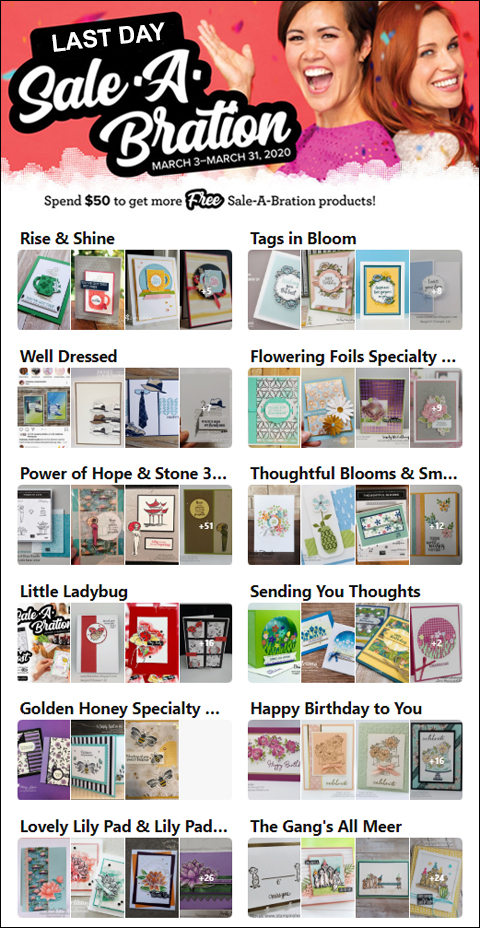 Last Day of Stampin' Up's Sale-a-Bration!  #dostamping #stampinup #saleabration #freestamps