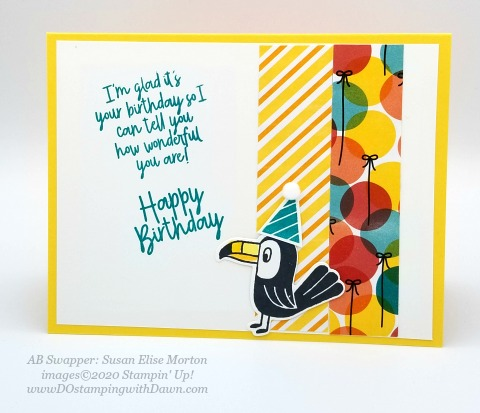 Stampin' Up! Birthday Bonanza Suite swap card shared by Dawn Olchefske #dostamping #howdshedothat #stampinup #handmade #cardmaking #stamping #papercrafting (Susan Elise Morton)