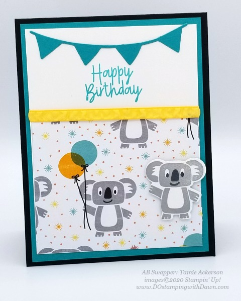 Stampin' Up! Birthday Bonanza Suite swap card shared by Dawn Olchefske #dostamping #howdshedothat #stampinup #handmade #cardmaking #stamping #papercrafting (Tamie Ackerson)