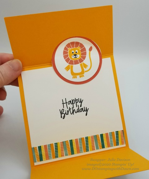 Stampin' Up! Birthday Bonanza Suite swap card shared by Dawn Olchefske #dostamping #howdshedothat #stampinup #handmade #cardmaking #stamping #papercrafting (Julie Davison)