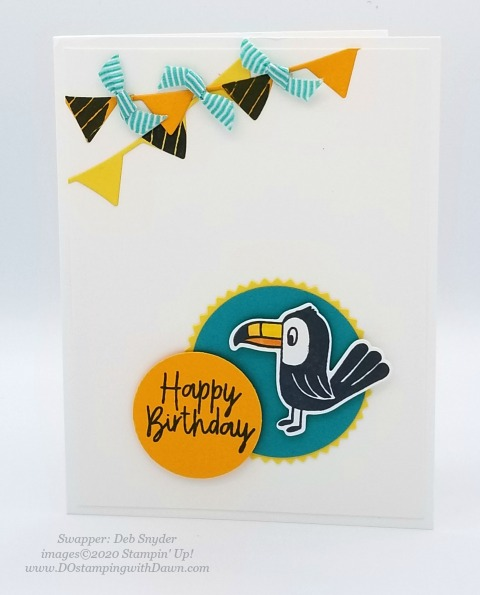 Stampin' Up! Birthday Bonanza Suite swap card shared by Dawn Olchefske #dostamping #howdshedothat #stampinup #handmade #cardmaking #stamping #papercrafting (Deb Snyder)