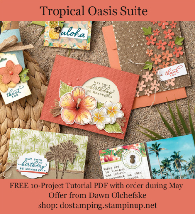 DOstamping MAY 2020 order BONUS - FREE Tropical Oasis Suite 10-Project Tutorial PDF, https://bit.ly/shopwithdawn | #dostamping #tropicaloasis #cardmaking