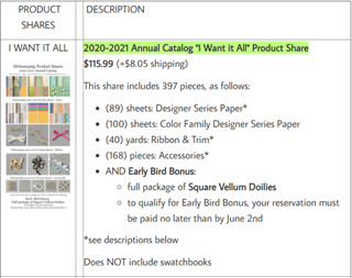 DOstamping Product Shares for 2020-2021 Annual Catalog #dostamping #productshares #stampinup