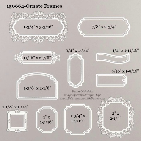Stampin' Up! Ornate Frames Die sizes shared by Dawn Olchefske #dostamping  #stampinup #handmade #cardmaking #stamping #diy #rubberstamping #papercrafting #dies
