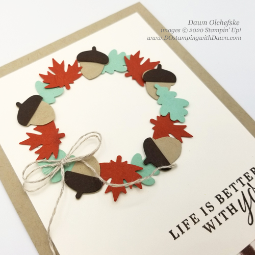 Stampin' Up! Autumn Punch Pack Wreath card by Dawn Olchefske #dostamping #howdshedothat #stampinup #handmade #cardmaking #stamping #papercrafting