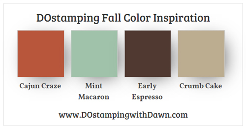 Stampin' Up! Color Combo Cajun Craze, Mint Macaron, Early Espresso, Crumb Cake from Dawn Olchefske #dostamping #stampinup #colorcombo