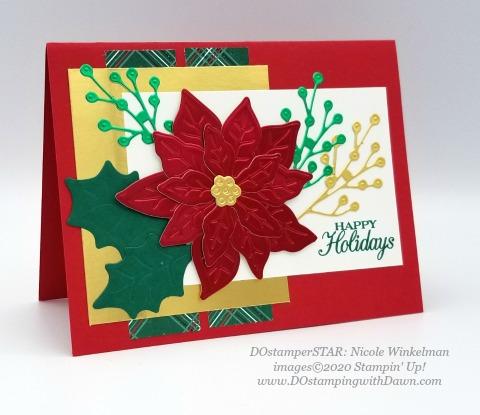 Stampin' Up! Poinsettia Petals Bundle shared by Dawn Olchefske #dostamping #stampinup #handmade #cardmaking #stamping #papercrafting #christmascards (DOstamperSTAR Nicole Winkelman)