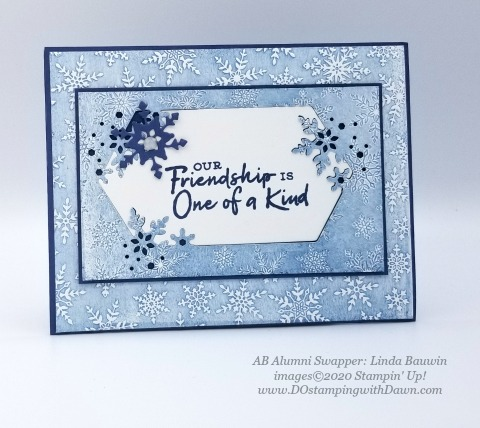 Stampin' Up! Snowflake Splendor Suite, Christmas swap card shared by Dawn Olchefske #dostamping #cardmaking #stamping #papercrafting  (Linda Bauwin)