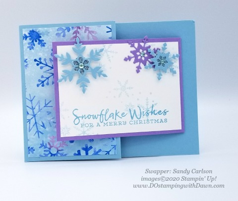 Stampin' Up! Snowflake Splendor Suite, Christmas swap card shared by Dawn Olchefske #dostamping #cardmaking #stamping #papercrafting  (Sandy Carlson)