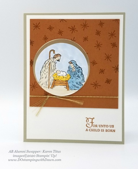 Stampin' Up! Peaceful Nativity swap shared by Dawn Olcheske #dostamping #christmas cards (Karen Titus)