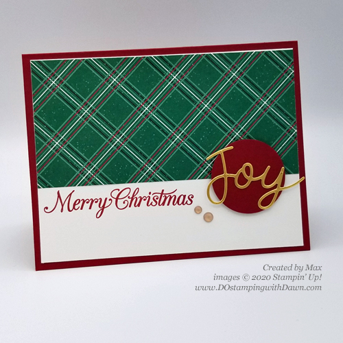 Quick and Cute Stampin' Up! Tis The Season DSP Christmas card for DOstamperSTARS #DOswts352 by Dawn Olchefske #dostamping #cardmaking #stamping -(Max)