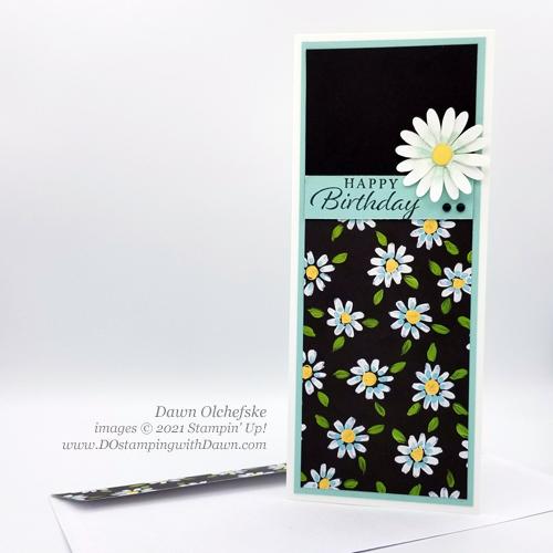Sale-a-Bration FREE Field Flower Designer Series Paper Slimline Card by Dawn Olchefske #dostamping #stampinup howdSheDOthat