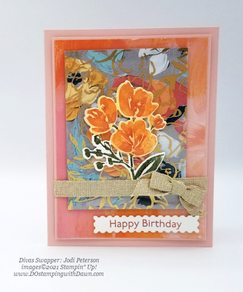 Stampin' Up! Fine Art Floral card swap shared by Dawn Olchefske #dostamping #cardmaking (Jodi Peterson)