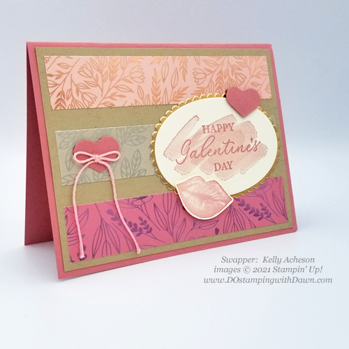 Stampin' Up! Hearts and Kisses swap card shared by Dawn Olchefske #dostamping #cardmaking (Kelly Acheson)