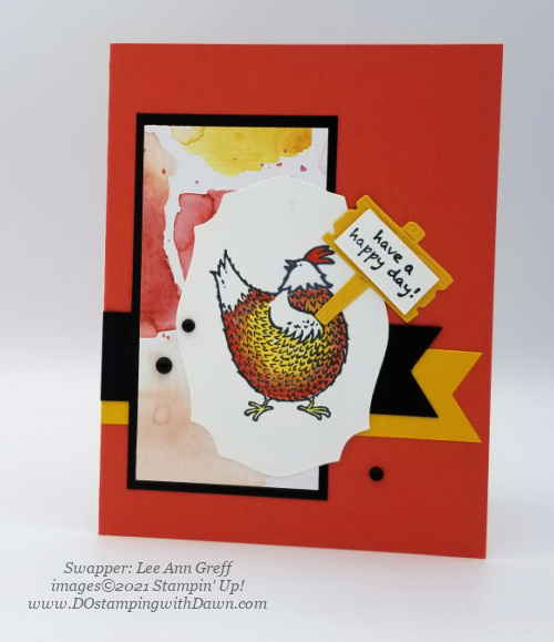 Stampin' Up! Hey Chick Bundle swap card shared by Dawn Olchefske #dostamping #cardmaking (LeeAnn Greff)