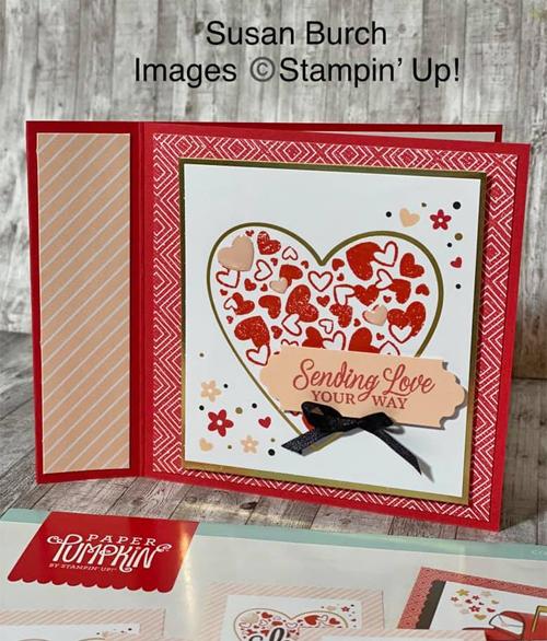 Sending Hearts card shared by Dawn Olchefske made by DOstamperSTAR Susan Burch #dostamping #paperpumpkin #valentinesdaycards-1
