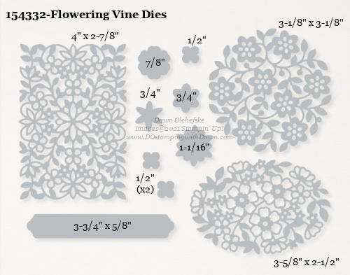 154332-Stampin' Up! Flowering Vine Dies measurements #DOstamping #stampinup #stampincut #cardmaking #HowdSheDOthat #papercrafting