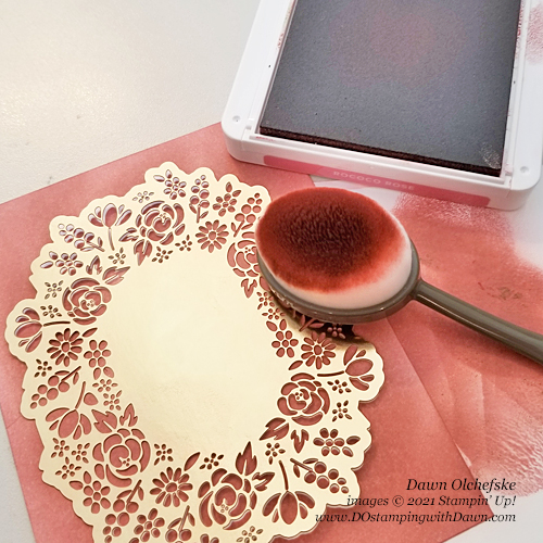 Paper Pumpkin Bouquet of Hope February 2019 kit stencil idea from Dawn Olchefske #dostamping #cardkits #howdSheDOthat-1