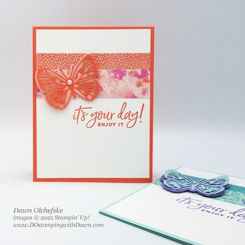 Stampin' Up! Butterfly Bijou Designer Series Paper card by Dawn Olchefske #dostamping #howdSheDOthat-cci