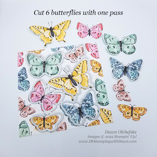Cut 6 Butterflies with Butterfly Bijou Designer Series Paper from Dawn Olchefske #howdSheDOthat #stampinup #dostamping