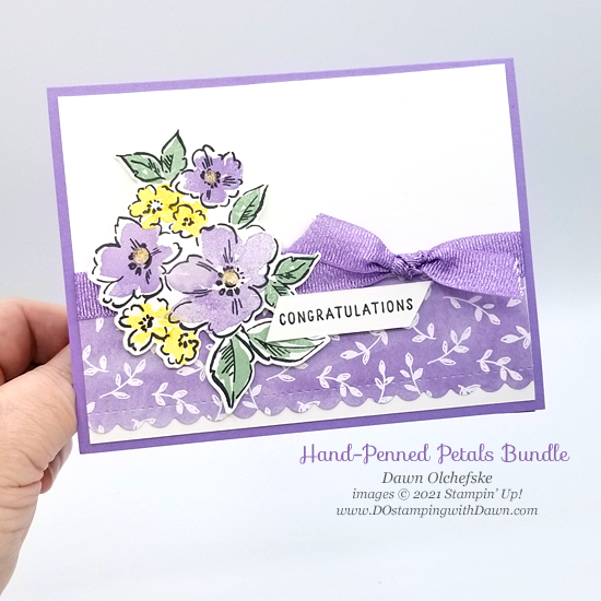 Sneak peak Stampin' Up! Hand-Penned Petals Bundle card by Dawn Olchefske #DOstamping #HowdSheDOthat #papercrafting-p