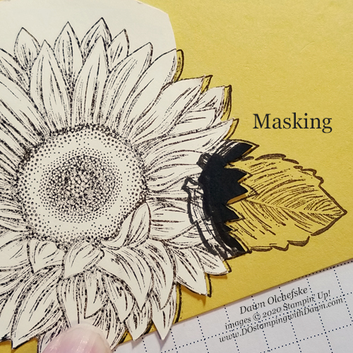 Masking Technique with Celebrating Sunflowers from Dawn Olchefske #dostamping #howdshedothat #stampinup #handmade #cardmaking #stamping #papercrafting  #stampingtechnique #celebratingsunflowers