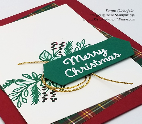 Sketch card made with the NEW Plaid Tidings Suite (coming 8/3/20) by Dawn Olchefske for Stamping with the STARS #343 #dostamping #howdshedothat #stampinup #handmade #cardmaking #stamping #papercrafting  #DOswts343 #DOstamperSTARS #christmascards #sketch