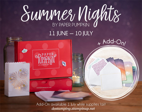 Paper Pumpkin July 2020 - Summer Nights Sneak Peek, subscribe with Dawn Olchefske by June11th at http://bit.ly/DOstampingPaperPumpkin #paperpumpkin #dostamping #stampsinthemail