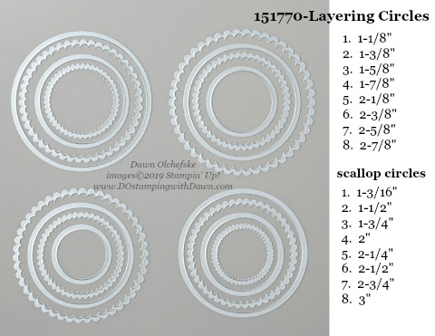 Stampin' Up! Layering Circles Dies sizes shared by Dawn Olchefske #dostamping #stampinup #papercrafting #diecutting #stampindies