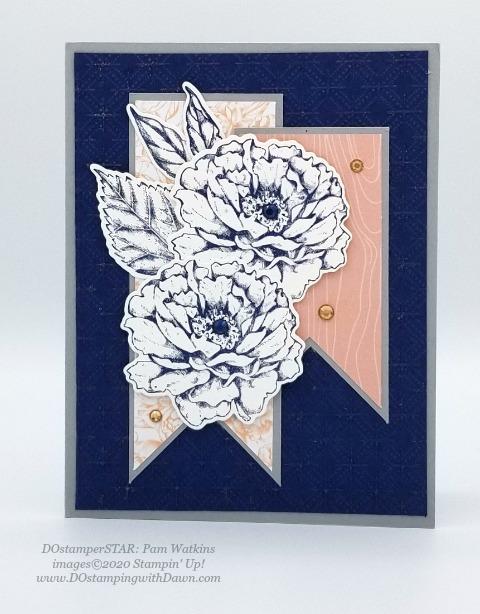 Prized Peony Bundle - Stampin' Up! 2020-2021 Annual catalog DOstamperSTARS swap cards shared by Dawn Olchefske #dostamping #howdshedothat #stampinup #handmade #cardmaking #stamping #papercrafting #dostamperstars (Pam Watkins)