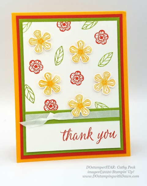 Basket of Blooms - Stampin' Up! 2020-2021 Annual catalog DOstamperSTARS swap cards shared by Dawn Olchefske #dostamping #howdshedothat #stampinup #handmade #cardmaking #stamping #papercrafting #dostamperstars (Cathy Peck)