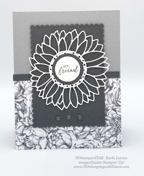 Sunflower Dies - Stampin' Up! 2020-2021 Annual catalog DOstamperSTARS swap cards shared by Dawn Olchefske #dostamping #howdshedothat #stampinup #handmade #cardmaking #stamping #papercrafting #dostamperstars (Karla Larson)