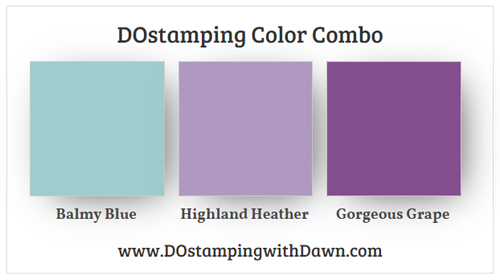 Stampin' Up! color combo Balmy Blue, Highland Heather, Gorgeous Grape #dostamping #stampinup #colorcombo