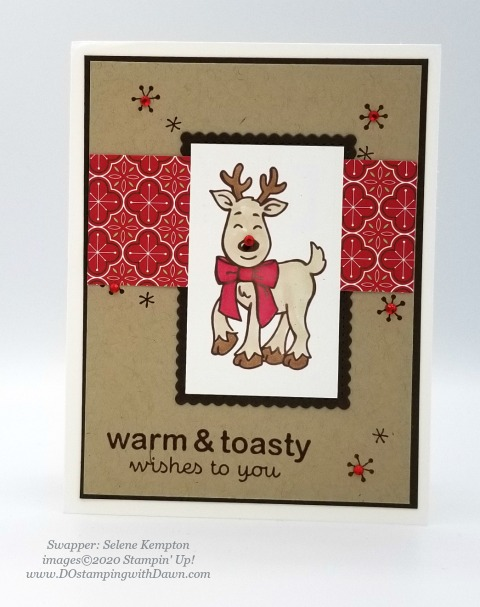 Stampin' Up! Warm & Toasty, Christmas swap card shared by Dawn Olchefske #dostamping #cardmaking #stamping #papercrafting (Selene Kempton)