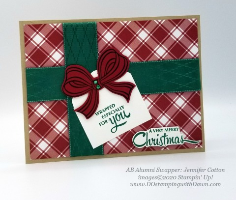 Stampin' Up! Gift Wrapped swap shared by Dawn Olcheske #dostamping #christmas cards (Jennifer Cotton)