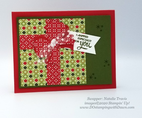 Stampin' Up! Gift Wrapped swap shared by Dawn Olcheske #dostamping #christmas cards (Natalie Travis)
