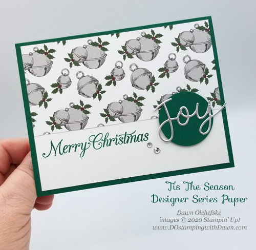 Quick and Cute Stampin' Up! Tis The Season DSP Christmas card for DOstamperSTARS #DOswts352 by Dawn Olchefske #dostamping #cardmaking #stamping-PH