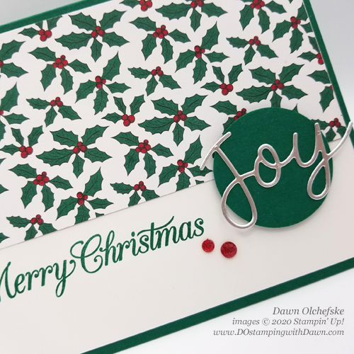 Quick and -Cute Stampin' Up! Tis The Season DSP Christmas card for DOstamperSTARS #DOswts352 by Dawn Olchefske #dostamping #cardmaking #stamping (holly)