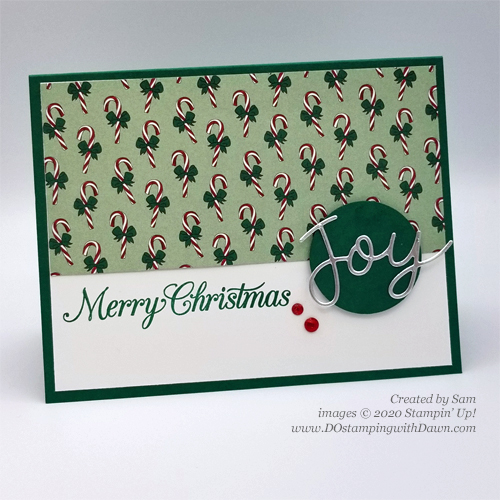 Quick and -Cute Stampin' Up! Tis The Season DSP Christmas card for DOstamperSTARS #DOswts352 by Dawn Olchefske #dostamping #cardmaking #stamping -(Sam)