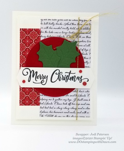 Stampin' Up! Tag Buffet swap shared by Dawn Olcheske #dostamping #christmas cards Jodi Petersen