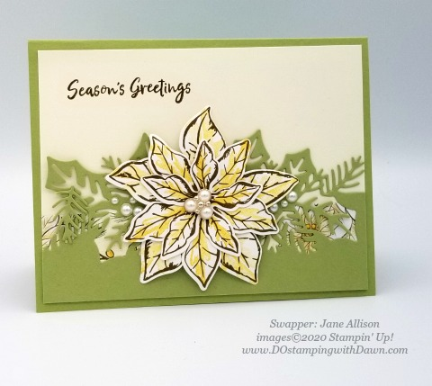 Stampin' Up! Poinsettia Petals Bundle swap shared by Dawn Olcheske #dostamping #christmas cards Jane Allison