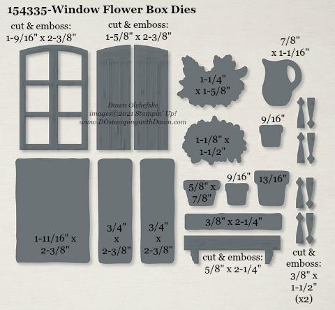 154335-Stampin' Up! Window Flower Box Dies measurements #DOstamping #stampinup #stampincut #cardmaking #HowdSheDOthat #papercrafting