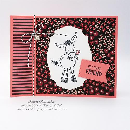 FREE Sale-a-Bration.Darling Donkeys stamp set card by Dawn Olchefske #dostamping #stampinup #papercrafting
