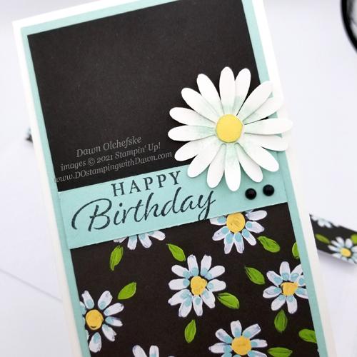 Sale-a-Bration FREE Field Flower Designer Series Paper Slimline Card by Dawn Olchefske #dostamping #stampinup howdSheDOthat cu